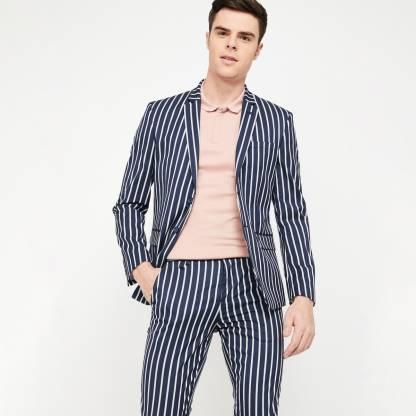 Striped Single Breasted Casual Men Blazer(Dark Blue)