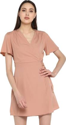 Peppytone Women Wrap Pink Dress