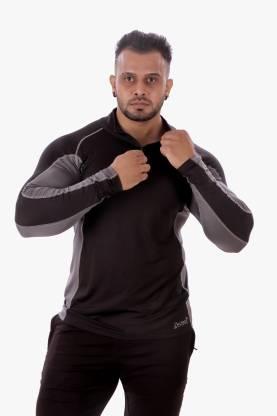 Zesteez Solid Men High Neck Black, Grey T-Shirt