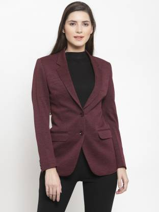 Solid Single Breasted Formal Women Full Sleeve Blazer(Red)