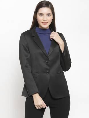 Solid Single Breasted Formal Women Full Sleeve Blazer(Black)