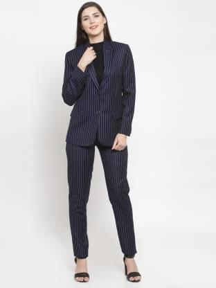 Striped Single Breasted Formal Women Full Sleeve Blazer(Blue)