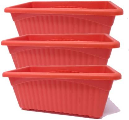 Oshi Greens Rectangle Flower Pot Plant Container Set