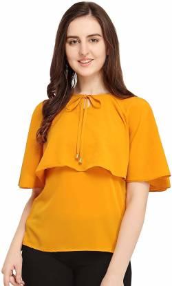 shoryam fashion Casual Cape Sleeve Solid Women Yellow Top