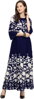 Shivam Creation Women Maxi Dark Blue Dress