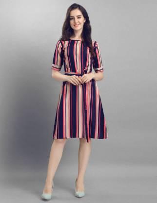Selvia Women A-line Multicolor, Dark Blue, Pink, Beige Dress