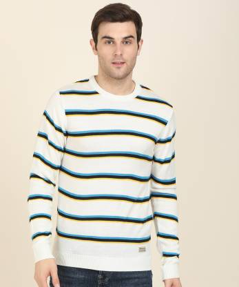 Peter England University Striped Round Neck Casual Men Multicolor Sweater