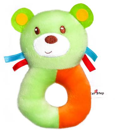 1st Step Dog Face Soft Plush Ring Rattle Cum Toy Rattle(Green)