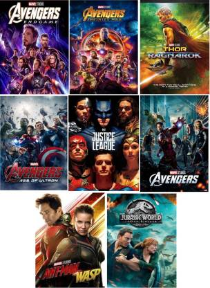 Avengers Endgame Infinity War Age Of Ultron Ragnarok Justice League The Avengers Ant-Man & Wasp Jurassic World Dual Audio Hindi & English 8 movies pack clear HD print clear voice (it's durn DATA DVD play only in computer or laptop)