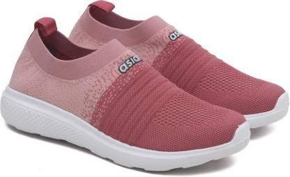 Asian Elasto-02 Peach Pink Walking Shoes,Slipon Shoes,Flyknit Sports Shoes,Fabric Running Shoes For Women