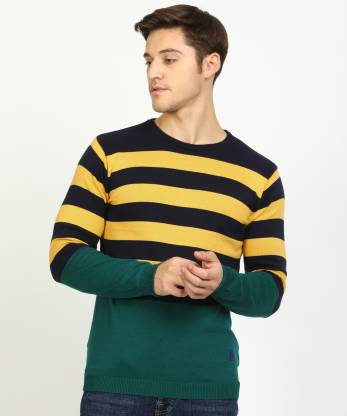 EASIES BY KILLER Striped Round Neck Casual Men Dark Blue, Green Sweater