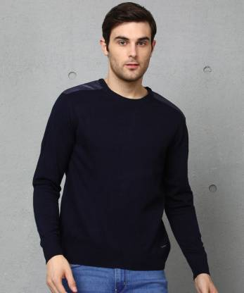 Metronaut Self Design Crew Neck Casual Men Dark Blue Sweater