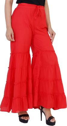 PURVI Slim Fit Women Red Trousers