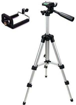ZEOM ™ Action camera Tripod-3110 Portable Adjustable Aluminum Lightweight Camera Stand With Three-Dimensional Head & Quick Release Plate For Canon Nikon Sony Cameras Camcorders and mobile holder Tri0pod tp012 (Silver & Black, Supports Up to 1500 g) Tripod(Silver, Supports Up to 1500) Tripod