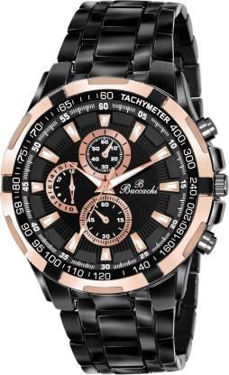 Buccachi B-G5088-BK-BK Buccachi Round Black Dial Water Resistant Black Color Stainless Steel Bracelet Analog Watch - For Men