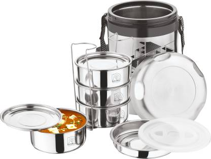 NanoNine Hot Tiffin 4 + 1 Stainless Steel Insulated Lunch Pack, 1370 ml 4 Containers Lunch Box