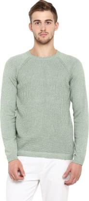 Red Tape Solid Crew Neck Casual Men Green Sweater