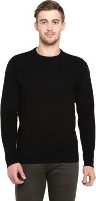 Red Tape Solid Crew Neck Casual Men Black Sweater
