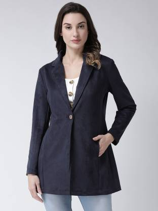 Solid Single Breasted Party Women Full Sleeve Blazer(Blue)