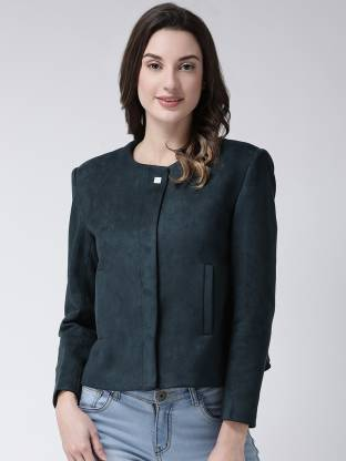 Solid Mandarin Party Women Full Sleeve Blazer(Blue)