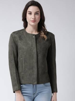 Solid Mandarin Party Women Full Sleeve Blazer(Green)
