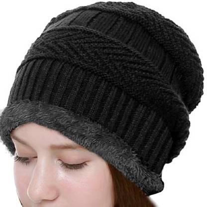 Adbucks Solid Snow Proof Inside Fur Unisex Wool Beanie Cap Warm Knit Hat Thick Fleece Lined Winter Hat for Men & Women Cap