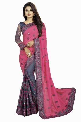 b bella creation Embroidered Bollywood Georgette, Net Saree