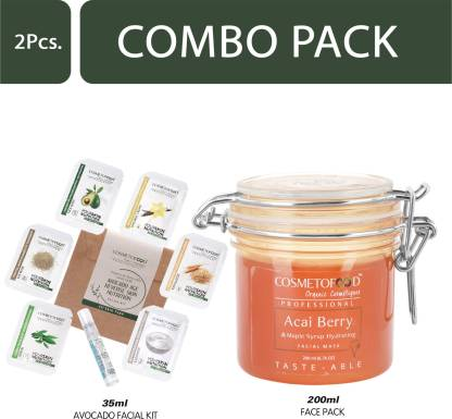 Cosmetofood Professional Combo Of Acai Berry & Maple Syrup Hydrating Facial Face Pack With Avocado Facial Kit, 235 mL