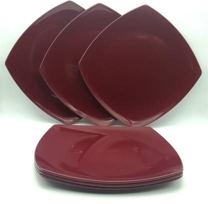 Homray Microwave Safe & Unbreakable Opulence Full Plates (6 Pieces)-Maroon Dinner Plate