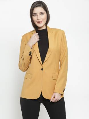 Solid Single Breasted Formal Women Full Sleeve Blazer(Yellow)