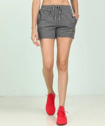 Solid Women Grey Sports Shorts