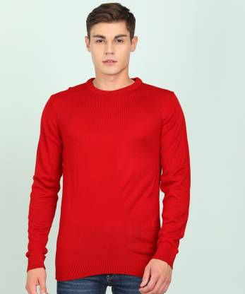 Peter England Solid Round Neck Casual Men Red Sweater