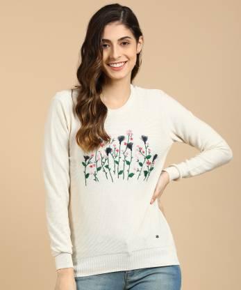 Allen Solly Embroidered Round Neck Casual Women Beige Sweater