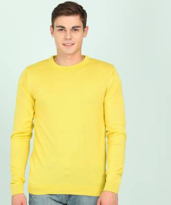 Peter England Self Design Round Neck Casual Men Yellow Sweater