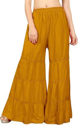 Relaxed Women Yellow Rayon Trousers