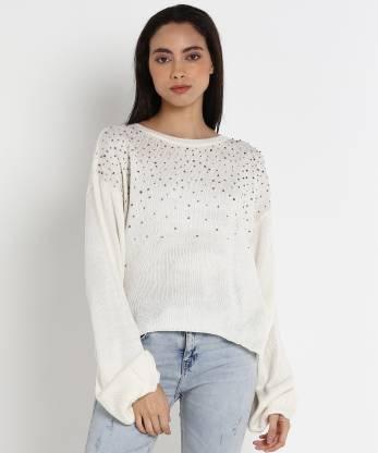 Embellished Round Neck Casual Women White Sweater