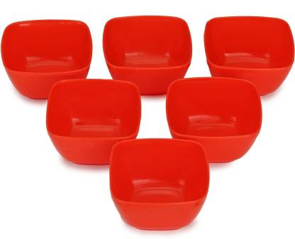 Somil Colorful Table ware Plastic Bowl Set Of Six (Red) For Daily Use Plastic Serving Bowl