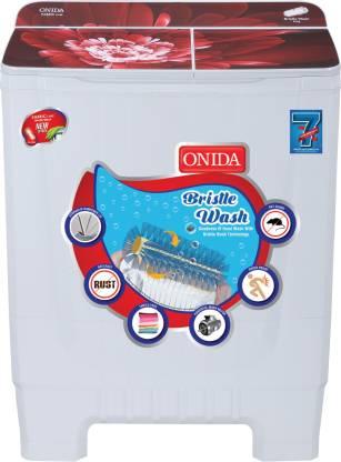 Onida 8 kg Bristle Wash Semi Automatic Top Load Red, White