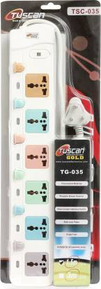 Tuscan Gold High Power 6 Switch 1.5 Meter Cable Extension Cord 6 Socket Surge Protector  White  6 Socket Extension Boards   White  Tuscan Gold Comput