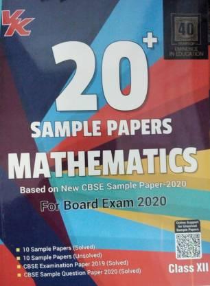 Xam Idea 20 Plus CBSE Sample Papers Mathematics Class 12th For 2020 Exam Paperback – 2019