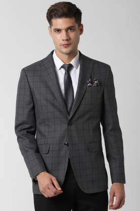 Peter England Checkered Single Breasted Formal Men Blazer