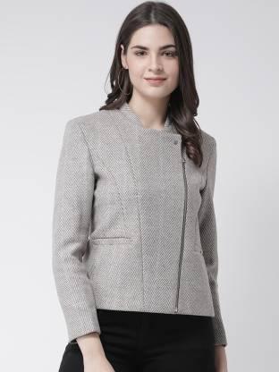 Self Design Mandarin Party Women Full Sleeve Blazer(Grey)