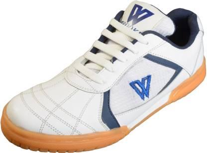 Leather Non Marking White Badminton Shoes For Men(White)