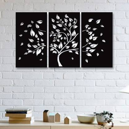 Gojeeva 3d Wall Art 3 Pieces Autumn Tree Design Wall Decoration 131 Color Black Suitable For Bedroom Lobby Dinning Room Wall Decorative Showpiece 30 Cm Price In India Buy Gojeeva 3d Wall Art 3 Pieces