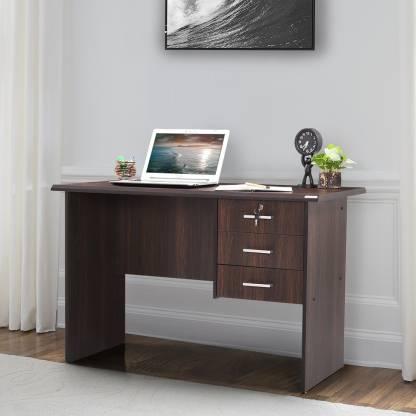 RoyalOak Lavender Engineered Wood Office Table Free Standing, Finish Color   Dark Brown