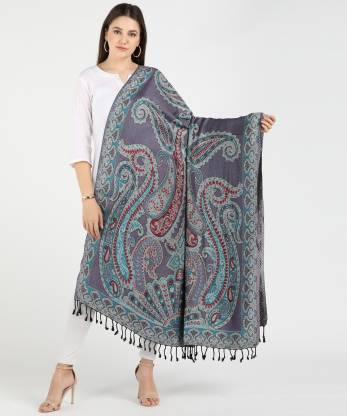 Kasims Viscose Embroidered Women Shawl  (Multicolor)