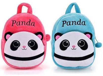 HappyChild 2 Baby Panda Soft Velvet Kids School/Nursery/Picnic/Carry/Travelling Bag - 2 to 5 Age Waterproof Backpack School Bag (10 L) Plush Bag