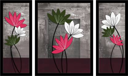 Dolphin Art Flower art 3 Piece Painting with Synthetic Frame Digital Reprint 13 inch x 21 inch Painting