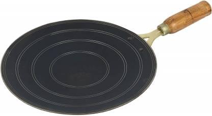 Tinax 12inch Iron Flat Tawa for Roti Chapati with (V) Wooden Handle Tawa 30.48 cm diameter