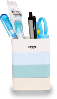 CHROME 1 Compartments PLASTIC PEN STAND